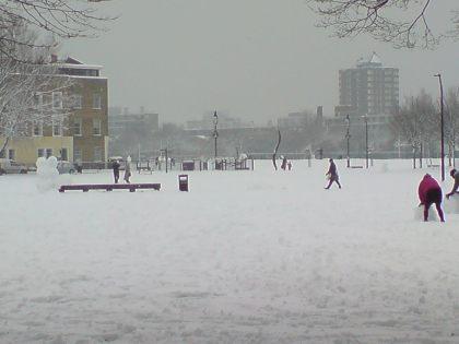 Schneemänner im Shoreditch Park