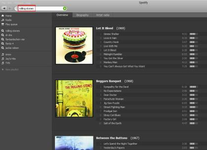 spotify screen shot - suche rolling stones